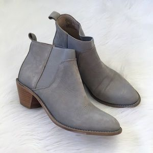 Kelsi Dagger Grey Leather Ankle Booties